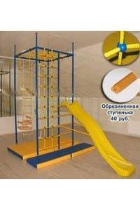 Детский спортивный комплекс Пятиопорный с паутиной, сеткой для лазания и горкой